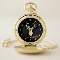 Gold Deer Head Silhouette Pocket Watch
