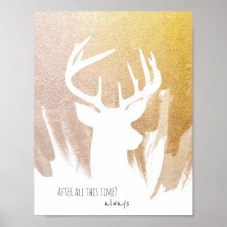 Gold Deer Patronus Poster