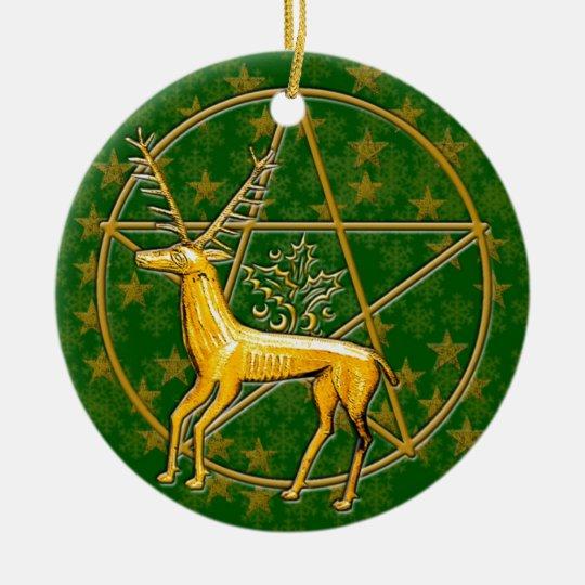 Gold Deer & Pentacle #2 Ceramic Ornament