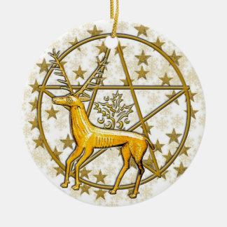Gold Deer & Pentacle #3 Ceramic Ornament