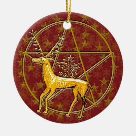 Gold Deer & Pentacle #8 Ceramic Ornament