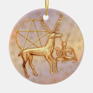 Gold Deer, Pentacle, &  Gold Cernunnos #1 Ceramic Ornament