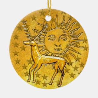 Gold Deer & Sun #1 Ceramic Ornament
