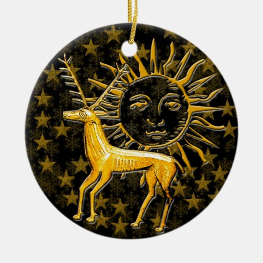 Gold Deer & Sun #8 Ceramic Ornament