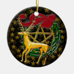 Gold Deer, Wreath, & Pentacle #1 Double-Sided Ceramic Round Christmas Ornament