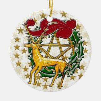 Gold Deer, Wreath, & Pentacle #3 Ceramic Ornament