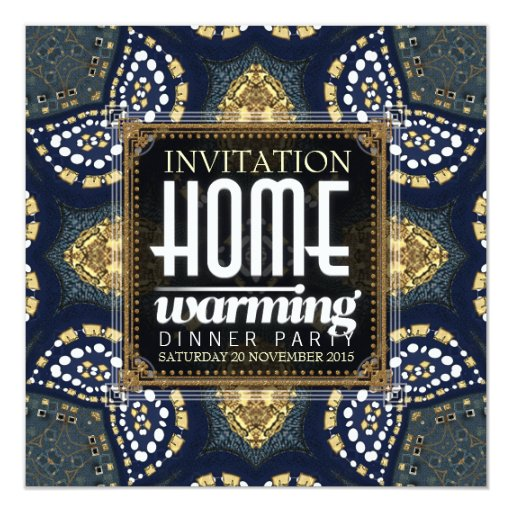 Gold Denim Home Warming Dinner Party Invitation