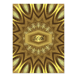 Gold  design 50th  Anniversary  Birthday Party Card