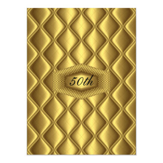 Gold  design 50th Birthday  Anniversary Party Card