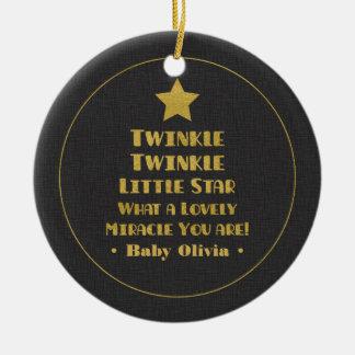 Gold Design Twinkle Twinkle Little Star Nursery Ceramic Ornament