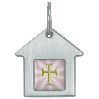 Gold Destroyed-Look Byzantine Cross Pet Name Tag