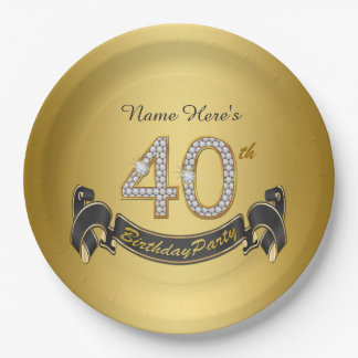 Gold Diamond 40th Birthday Party Paper Plate