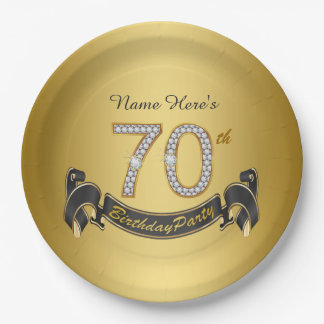 Gold Diamond 70th Birthday Party 9 Inch Paper Plate