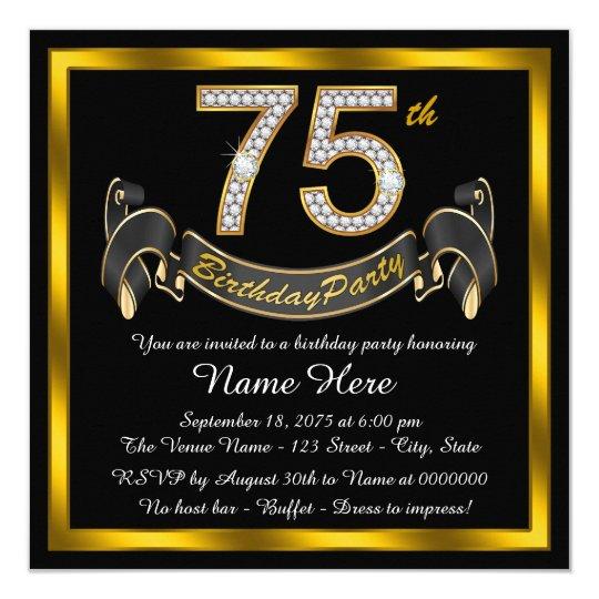 Gold diamond 75th birthday party invitation zazzle gold diamond 75th birthday party invitation filmwisefo