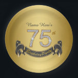 "Gold Diamond 75th Birthday Party Paper Plate<br><div class=""desc"">75th birthday party paper plates with pretty gold diamond numbers and black and gold banner on a rich gold background. You can personalize with a name or other text of your choice.</div>"