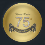 """Gold Diamond 75th Birthday Party Paper Plate<br><div class=""""desc"""">75th birthday party paper plates with pretty gold diamond numbers and black and gold banner on a rich gold background. You can personalize with a name or other text of your choice.</div>"""