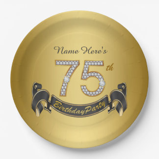 Gold Diamond 75th Birthday Party Paper Plate