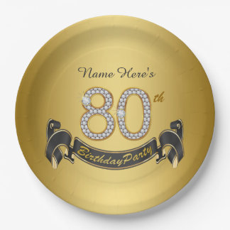 Gold Diamond 80th Birthday Party 9 Inch Paper Plate