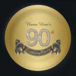 "Gold Diamond 90th Birthday Party Paper Plate<br><div class=""desc"">Gold 90th birthday party paper plates with pretty gold diamond numbers and black and gold banner on a rich gold background. You can personalize these 90th birthday party paper plates with a name or other text of your choice.</div>"