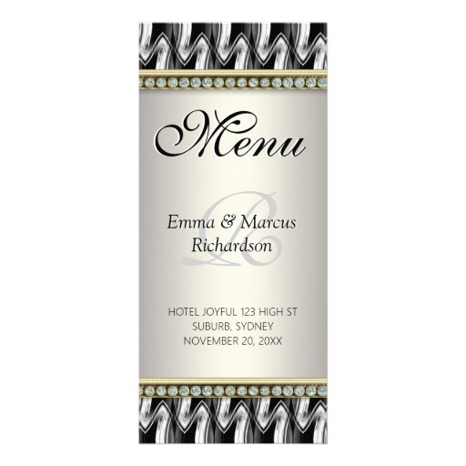 Gold Diamond Black White Pattern Wedding Menu