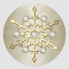 Gold Diamond Christmas Holiday Snowflake Classic Round Sticker at Zazzle