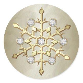 Gold Diamond Christmas Holiday Snowflake