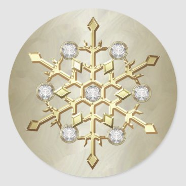 Christmas Themed Gold Diamond Christmas Holiday Snowflake Classic Round Sticker
