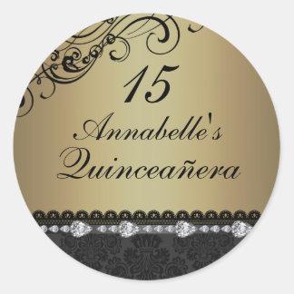 Gold Diamond & Damask Quinceanera Sticker