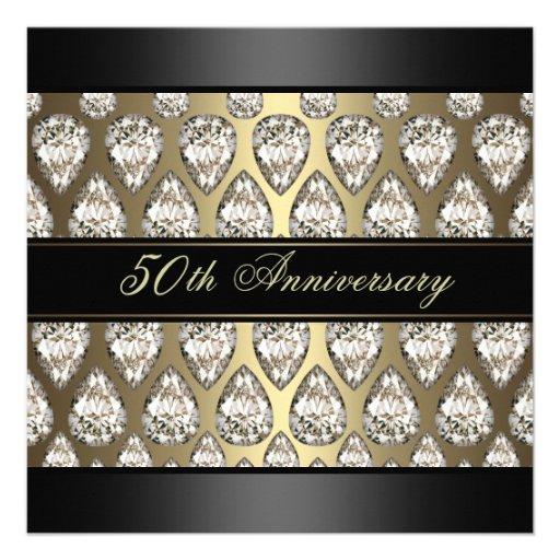 Gold Diamond Design Wedding Anniversary Invite