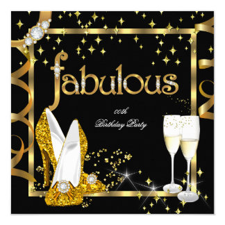 Gold Diamond Fabulous Glitter High Heels Party Card