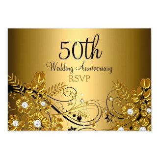 Gold Diamond Floral Swirl 50th Anniversary RSVP Card