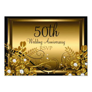 Gold Diamond Floral Swirl 50th Anniversary RSVP Invitation