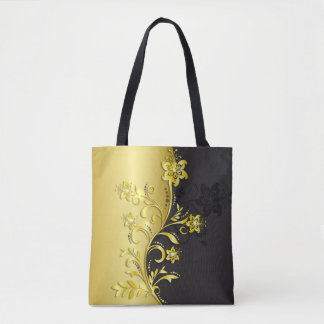 Gold Diamond Flowers All-Over-Print Tote Bag