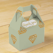 Gold Diamond Geometric On Mint Thank You Favor Box