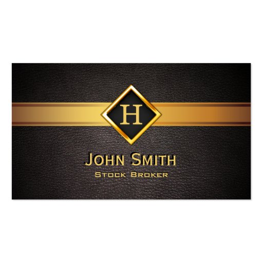 Gold Diamond Label Stock Broker Business Card