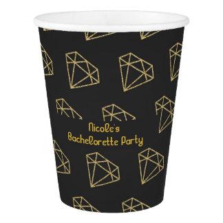 Gold Diamond Modern Bachelorette Party Paper Cup