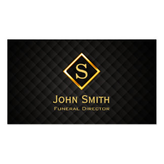 Gold Diamond Monogram Funeral Business Card