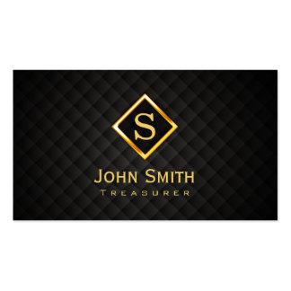 Gold Diamond Monogram Treasurer Business Card