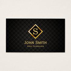 Gold Diamond Monogram Web Design Business Card at Zazzle