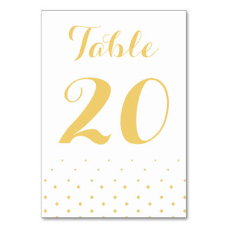 Gold Diamond on White Table Number Card Table Cards