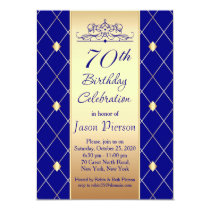 Gold diamond pattern on blue 70th Birthday Party Invitation
