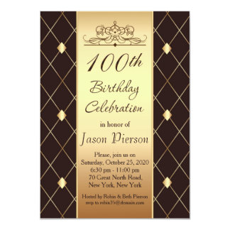 Gold diamond pattern on brown 100th Birthday Party Card