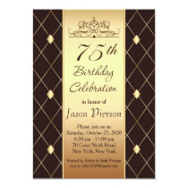 Gold diamond pattern on brown 75th Birthday Party Invitation
