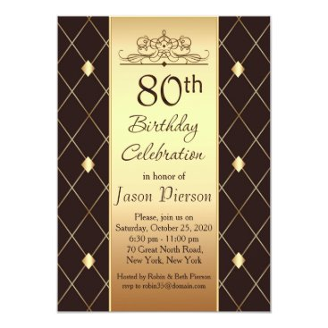 IrinaFraser Gold diamond pattern on brown 80th Birthday Party Card
