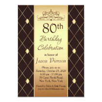 Gold diamond pattern on brown 80th Birthday Party Invitation