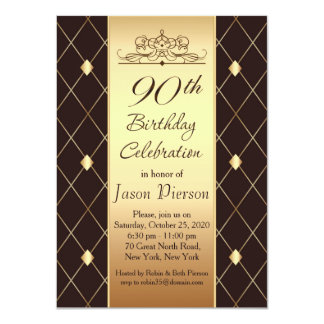 Gold diamond pattern on brown 90th Birthday Party Card