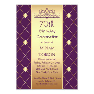 Gold diamond pattern on purple 70th Birthday Party Card