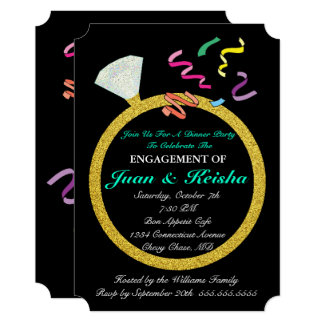 Gold Diamond Ring Engagement Confetti Party Card