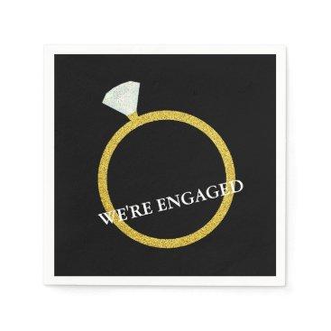McTiffany Tiffany Aqua Gold Diamond Ring Engagement Party Napkin