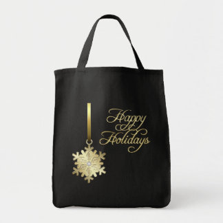 Gold Diamond Snowflake Black Christmas Bag